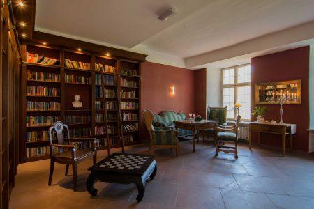 gut ausgestattete Bibliothek mit offenem Kamin